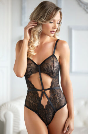 Allure Lace and Mesh Teddy Black - Teddy 1