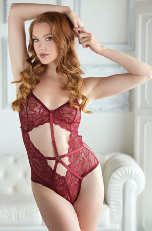 Allure Lace and Mesh Teddy Red - Teddy 1