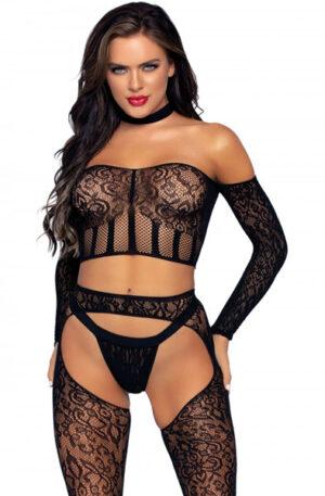 Leg Avenue Top, Suspender Hose & G-string - Sexiga underkläder 1