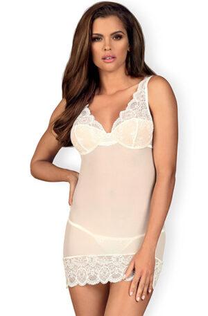 Obsessive 853-CHE-2 Chemise & Thong White - Sexiga underkläder 1