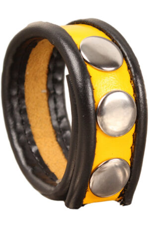 The Red Leather Cockring 3-snaps Black-Yellow - Penisring 1